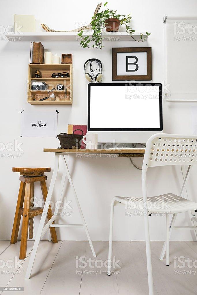 Modern creative workspace. stock photo
