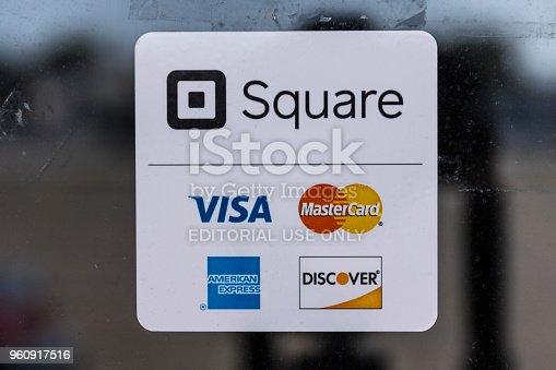 Kokomo - Circa August 2017: Modern credit methods including Square, Visa, Master Card, American Express and Discover II