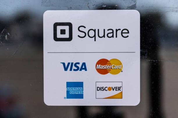 現代信用方法, 包括廣場, 簽證, 主卡, 美國運通和發現 ii - 方形 個照片及圖片檔