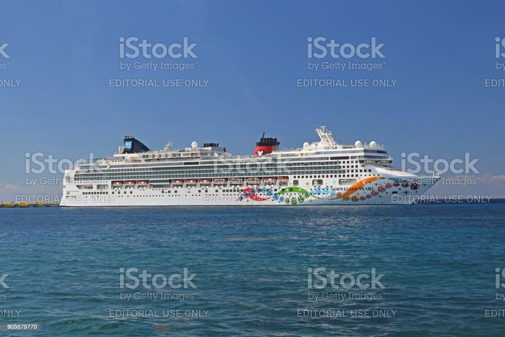 Modern cruise ship on the sea stock photo