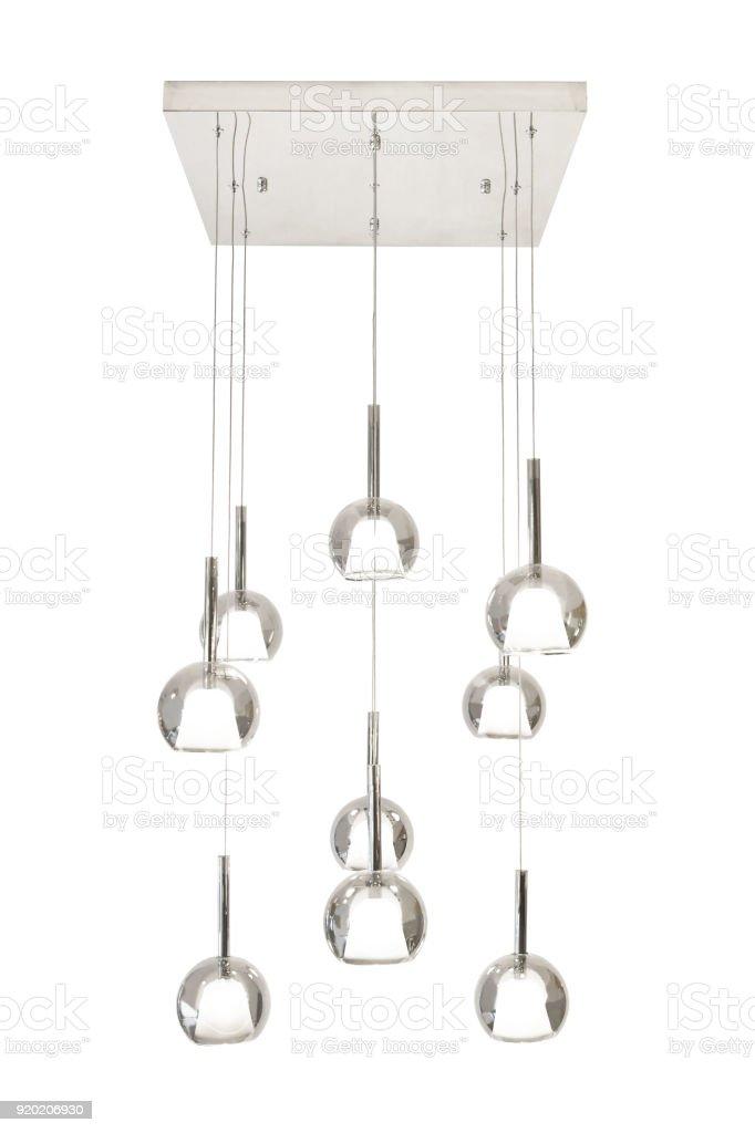 Modern crystal chandelier stock photo