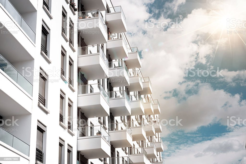 modern cubic residential house in berlin stock photo