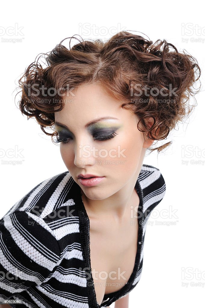 Modern curly hairstyle royalty-free stock photo
