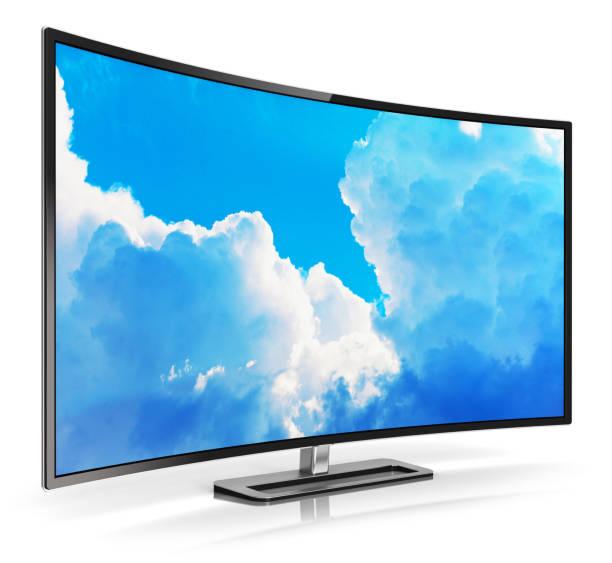 Modern curved 4K UltraHD TV - foto de stock