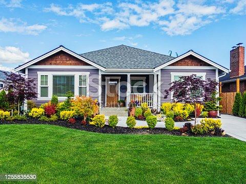 istock Modern Custom Suburban Home Exterior 1255835530