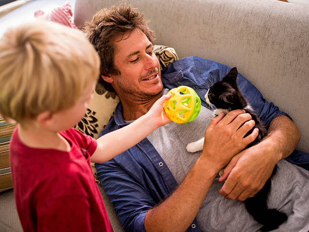 Modern dad holding cat for son to play on couch picture id518283486?b=1&k=6&m=518283486&s=612x612&w=0&h=yheur4zcimxaxsanlb gncnpsufdnrm9xh6nfogpvd8=