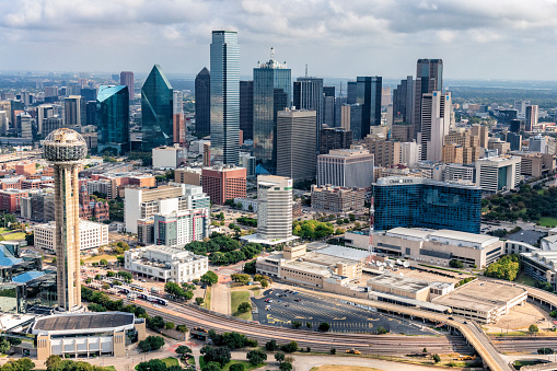 Aerial view of the modern Dallas skyline from about 600 feet in altitude.
