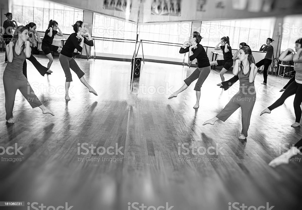 Modern dance classroom: mirror image royalty-free stock photo