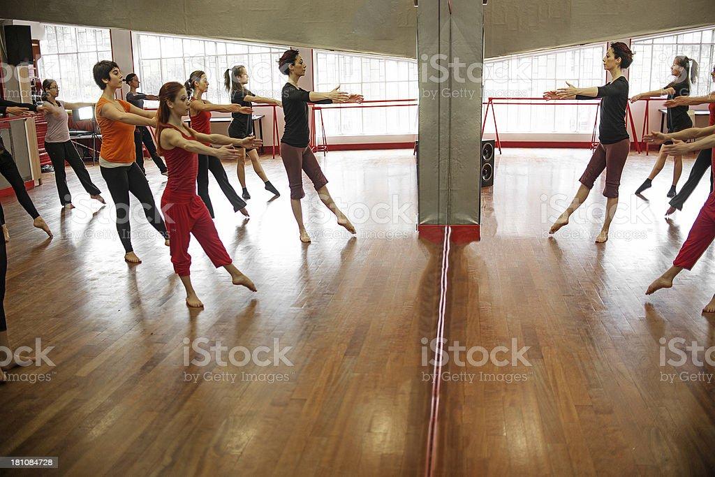 Modern dance classroom: mirror royalty-free stock photo