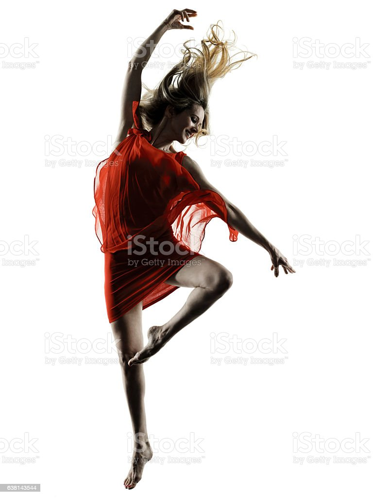 modern dancer dancing woman  isolated silhouette stock photo