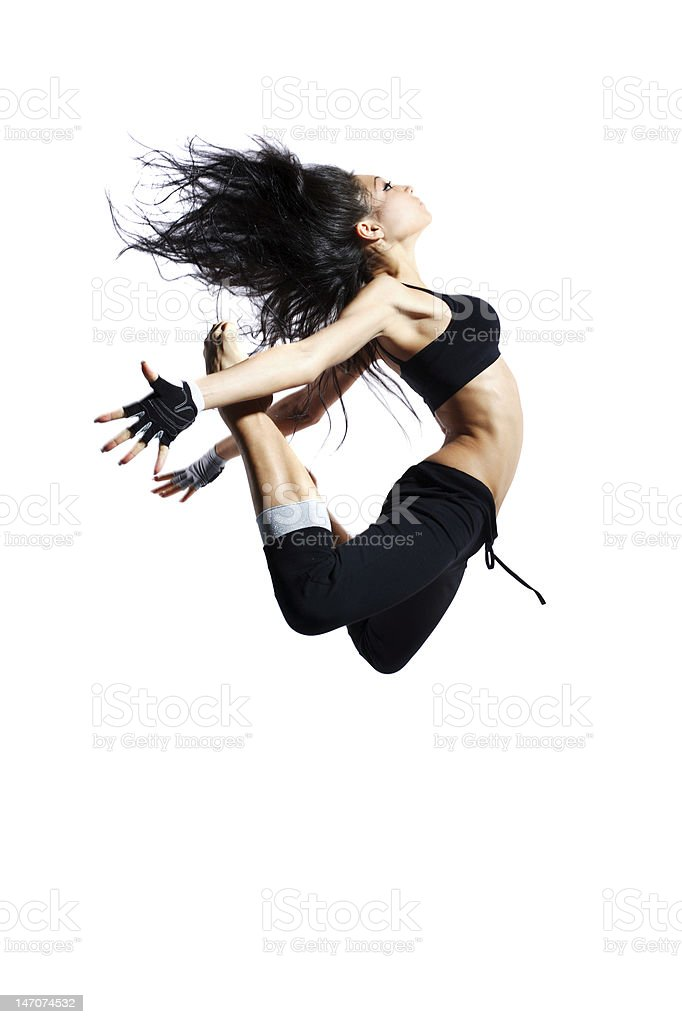 Modern dancer leaping in the air royalty-free stock photo