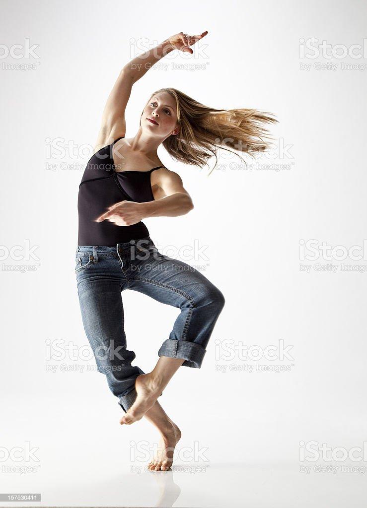 modern dancer spinning stock photo