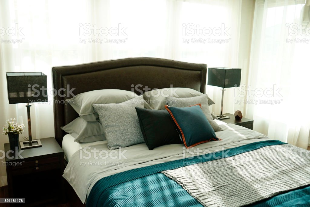 Modern Dark Blue Bedroom With Table Lamp Royalty Free Stock Photo