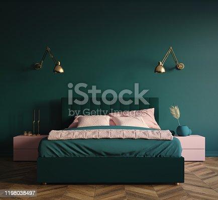 Modern dark green bedroom interior, 3d render