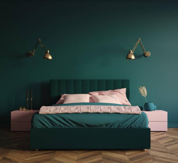 moderne sdunkelgrüne schlafzimmer innenausstattung - schlafzimmer stock-fotos und bilder