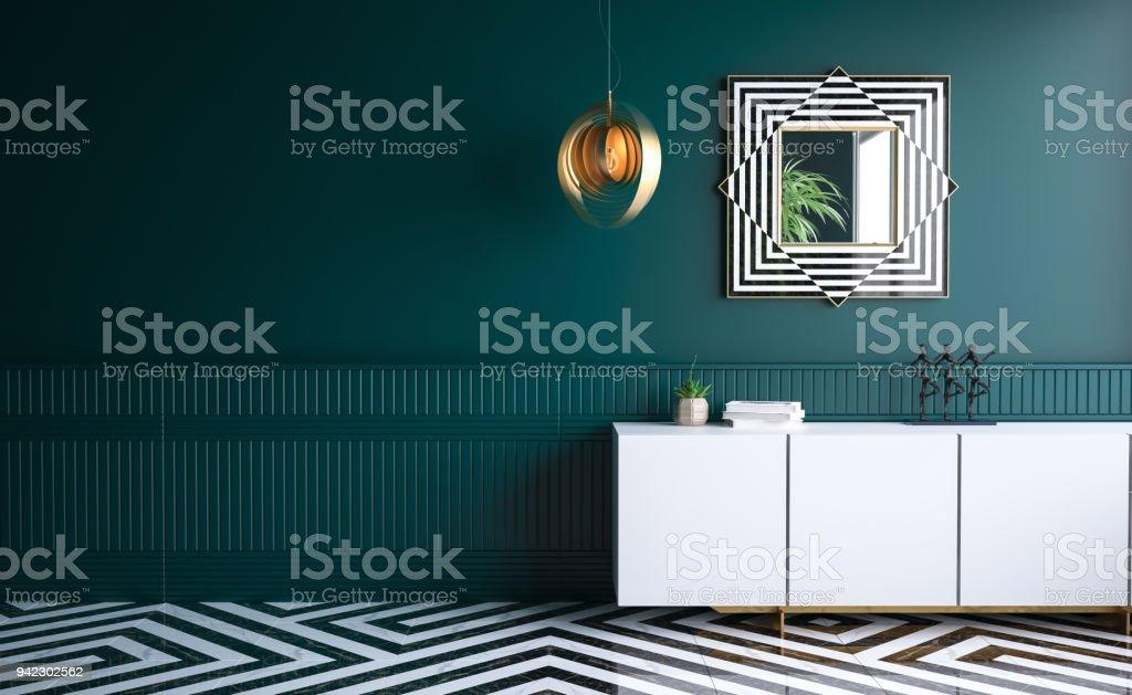 Modern Dark Green Living Room Stock Photo - Download Image ...