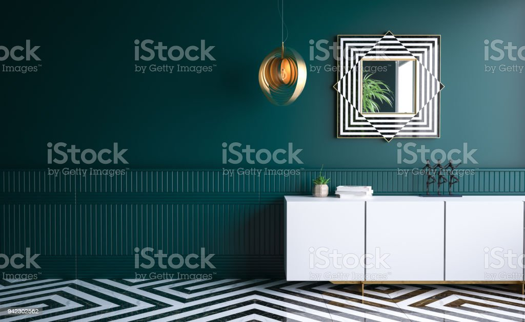 Modern dark green living room stock photo