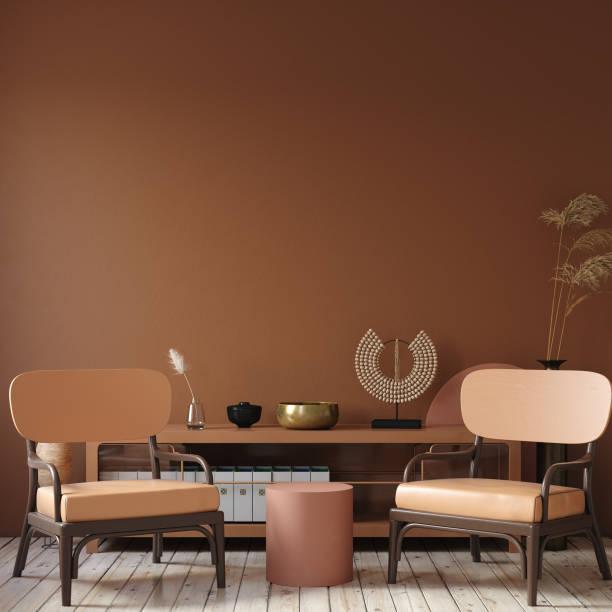modern mörk inredning med kommode, stol och dekor i terrakotta färger - brun beskrivande färg bildbanksfoton och bilder