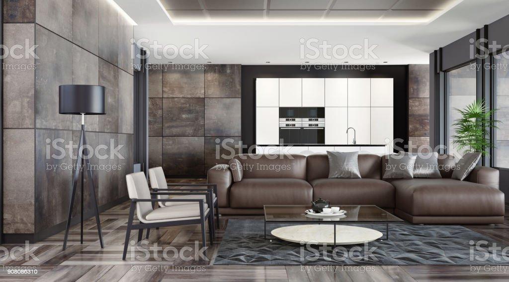 Modernen dunkle Stein nach Hause innen – Foto
