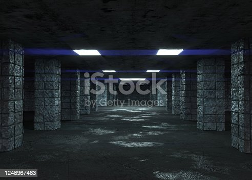 modern, dark, tunnel, underground, 3d rendering, empty