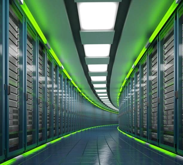 Modern datacenter. Cloud computing. 3d rendering stock photo