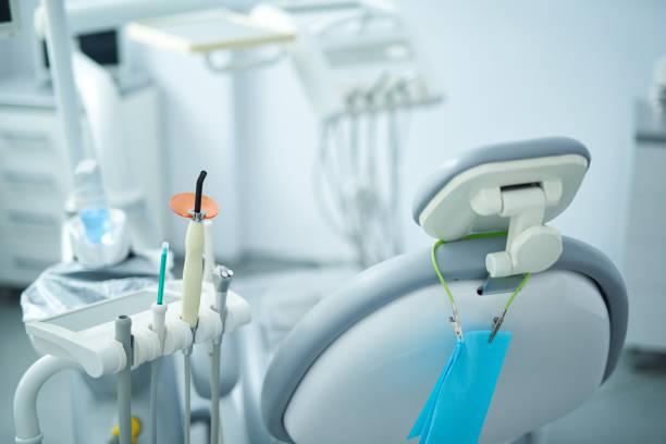 Modern dentist room and new equipment inside stock photo