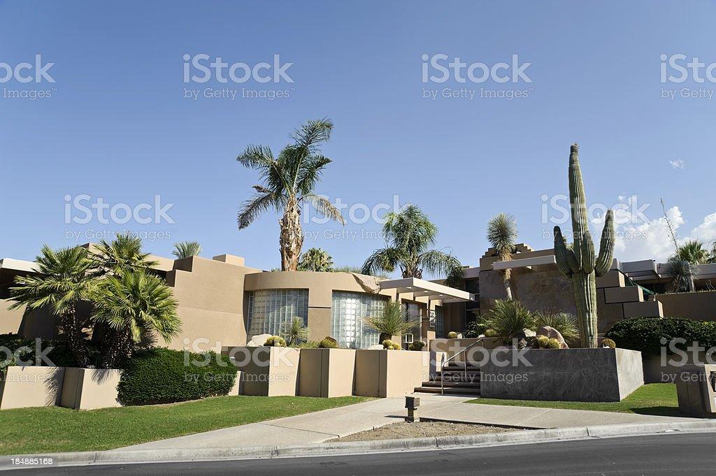 modern desert home stock photo