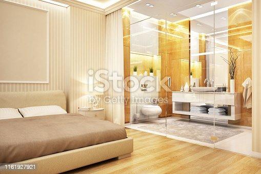 istock Modern design bathroom in bedroom 1161927921