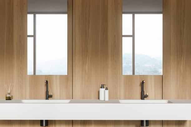 Modern design bathroom interior. stock photo