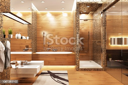 istock Modern design bathroom 1067383102