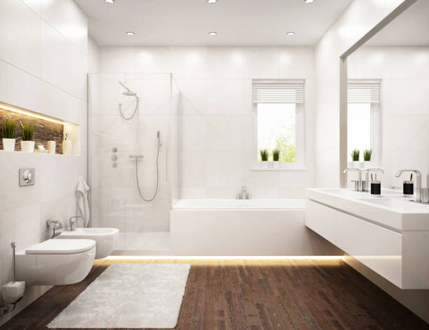 modernes design badezimmer weiß - sonnendusche stock-fotos und bilder