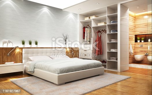 istock Modern design bedroom with bathroom and closet 1161927967
