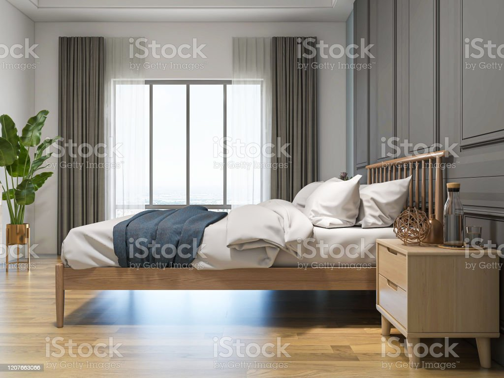 Modern Design Bedroom With Large Bed Chest Of Drawers Greenery Stock Photo Download Image Now Istock