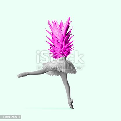 An altrnative ballet or dancer headed by pineapple against grey background. Negative space to insert your text or ad. Modern design. Contemporary art. Creative conceptual and colorful collage.