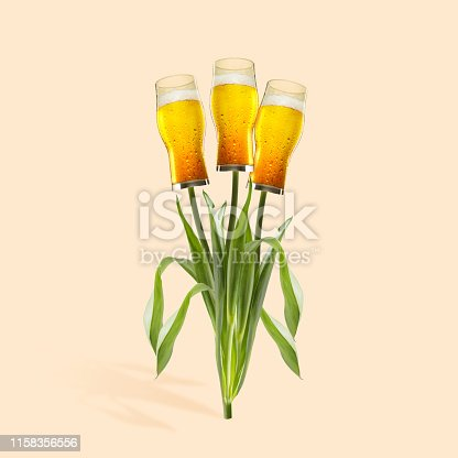 An altrnative plants as a beer glasses against orange background. Negative space to insert your text or ad. Modern design. Contemporary art. Creative conceptual and colorful collage.