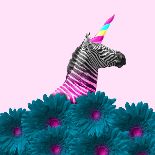 Modern design. Contemporary art collage. Dreaming about being better. An alternative zebra like a unicorn in blue flowers on pink background. Negative space. Modern design. Contemporary art. Creative conceptual and colorful collage. funky stock pictures, royalty-free photos & images