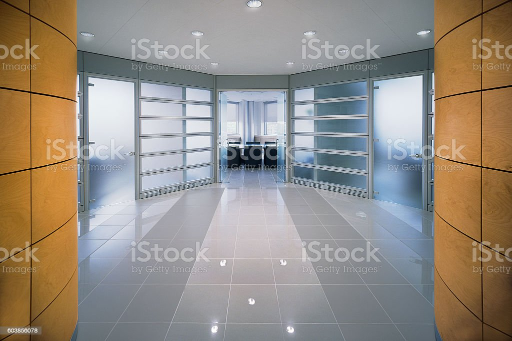 Modern design entrance into an office of italian corporate royalty-free stock photo