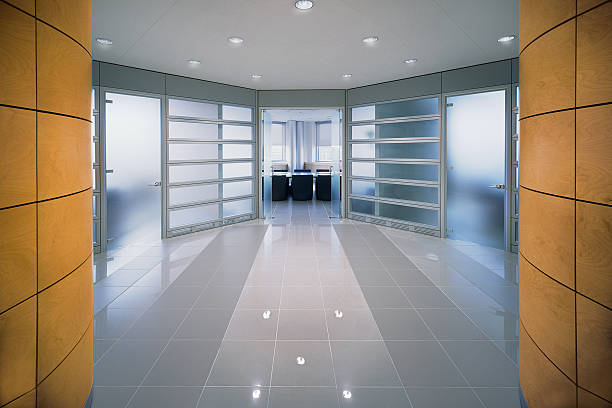 Modern design entrance into an office of italian corporate stock photo