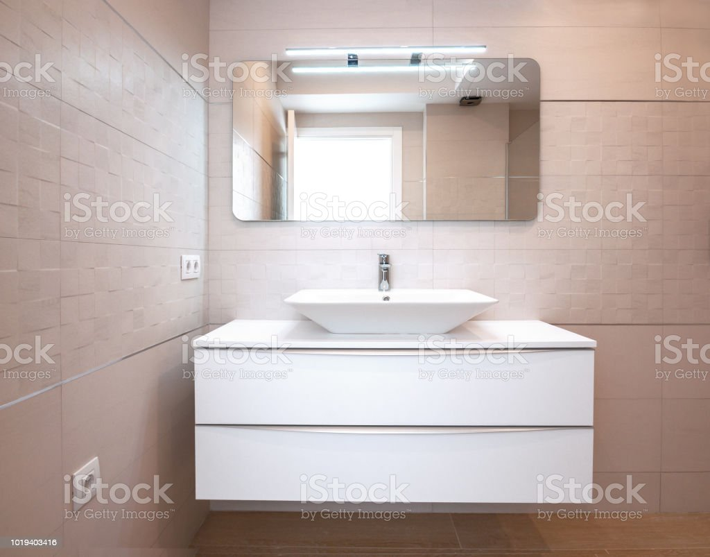 Modern Design In The Bathroom Luxury White Porcelain Sink On A ...