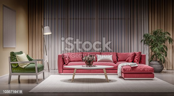 istock Modern design interior living room, red sofa with green chair 1035716418
