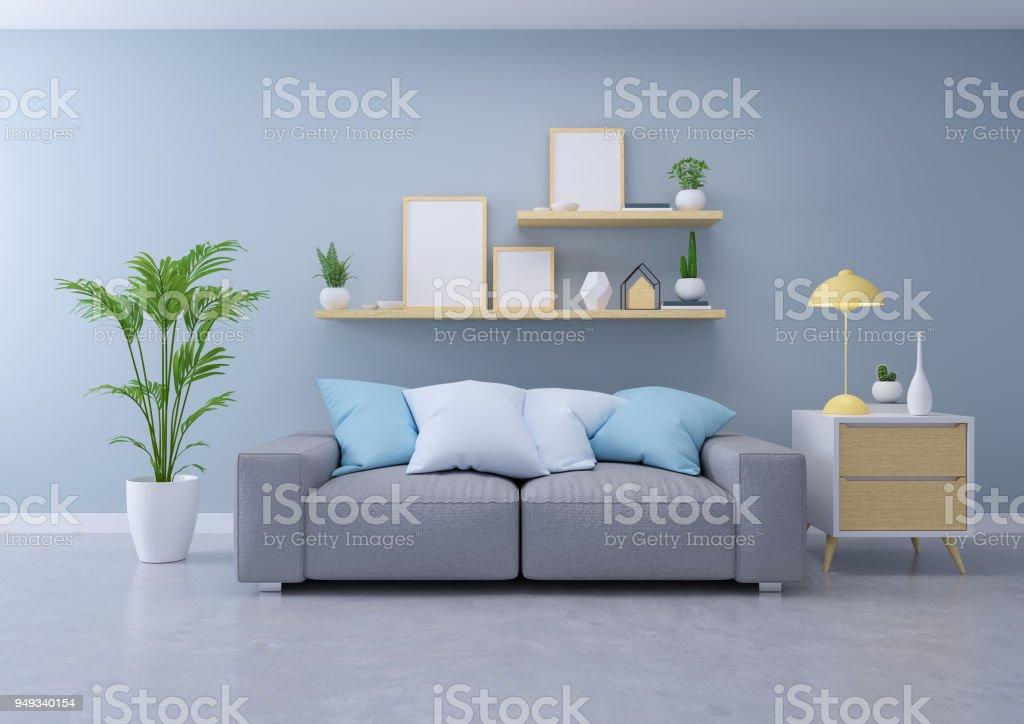 a2825bbf260f6f Moderne Designinterieur Aus Wohnzimmer Grauen Sofa Auf Betonboden ...