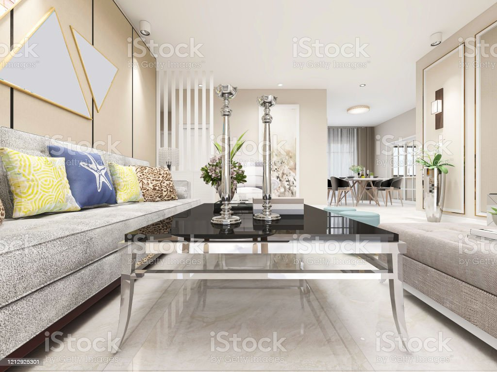 Modernes Design Wohnzimmer Mit Sofa Tv Und Anderen Geräten Sieht ...