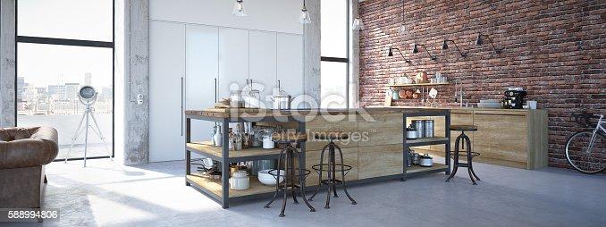 istock Modern Design Luxurious Kitchen Interior. 3d rendering 588994806