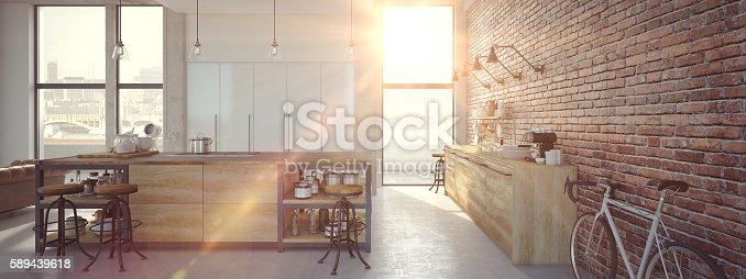 istock Modern Design Luxurious Kitchen Interior. 3d rendering 589439618