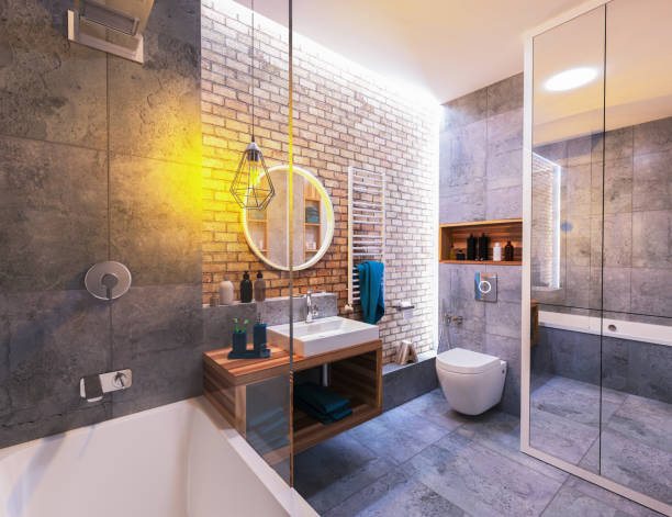 modern design of a bathroom modern interior of a bathroom in loft domestic bathroom stock pictures, royalty-free photos & images