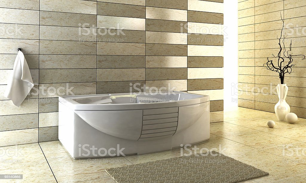 Modern design of bathroom with staggered tile stock photo