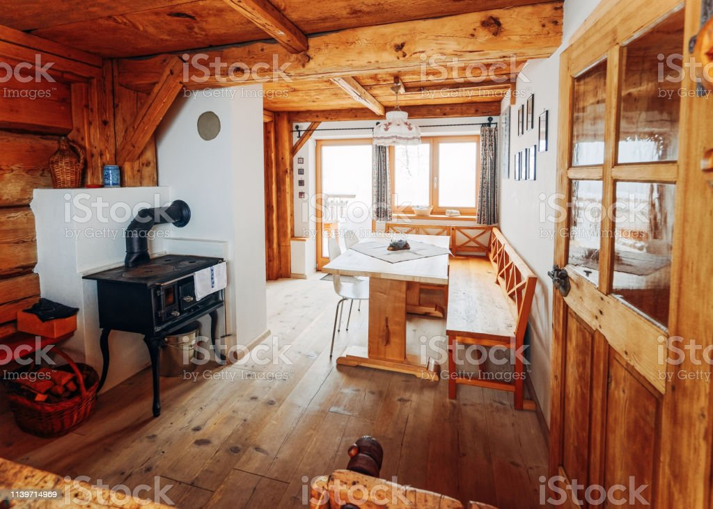 Modern Design Of Home Wooden Kitchen Interior Oven Table Window Stock Photo Download Image Now Istock