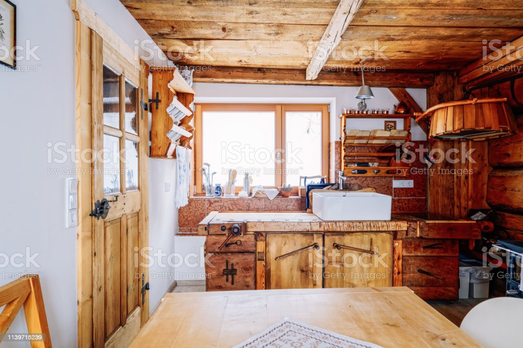 Modern Design Of Home Wooden Kitchen Interior Table And Sink Stock Photo Download Image Now Istock