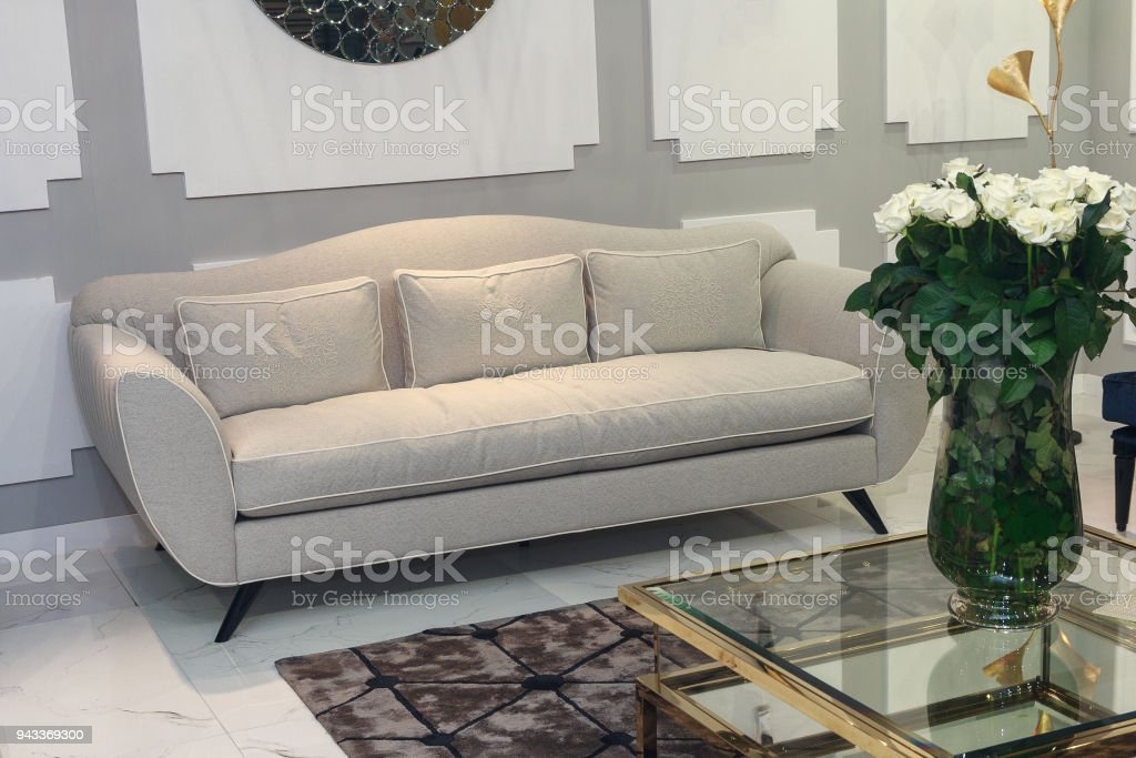 Modern Design Of The Living Room With Sofa Interior Stock Photo ...