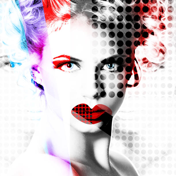 Modern design poster with a portrait of a girl. stock photo